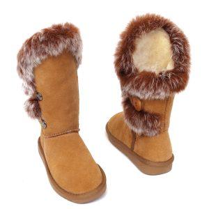 Rabbit Fur Sheepskin Boots Chestnut