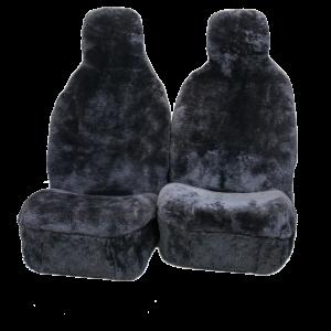 Seat Cover – Genuine Aussie Sheepskin Premium Hooded 30mm Charcoal Grey