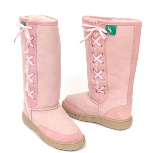 Lace Up Ugg Boots Bowa Heavy Duty Sole Pink