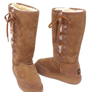 Lace Up Ugg Boots Bowa Heavy Duty Sole Chestnut