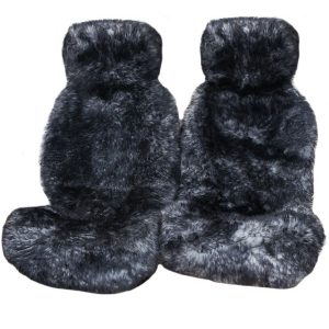 Ultra Premium 6 Star Long Wool Hooded Seat Covers Grey With Black Tips