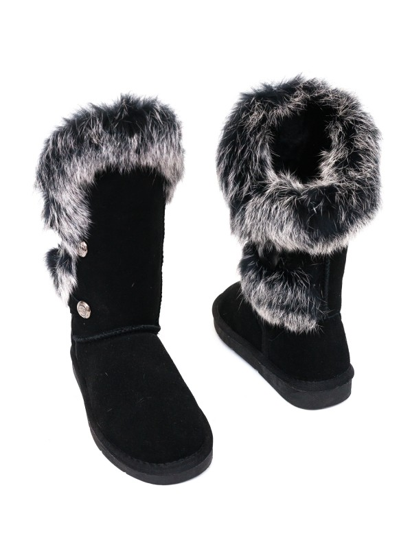 Rabbit Fur Sheepskin Boots Black