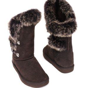 Rabbit Fur Sheepskin Boots Brown